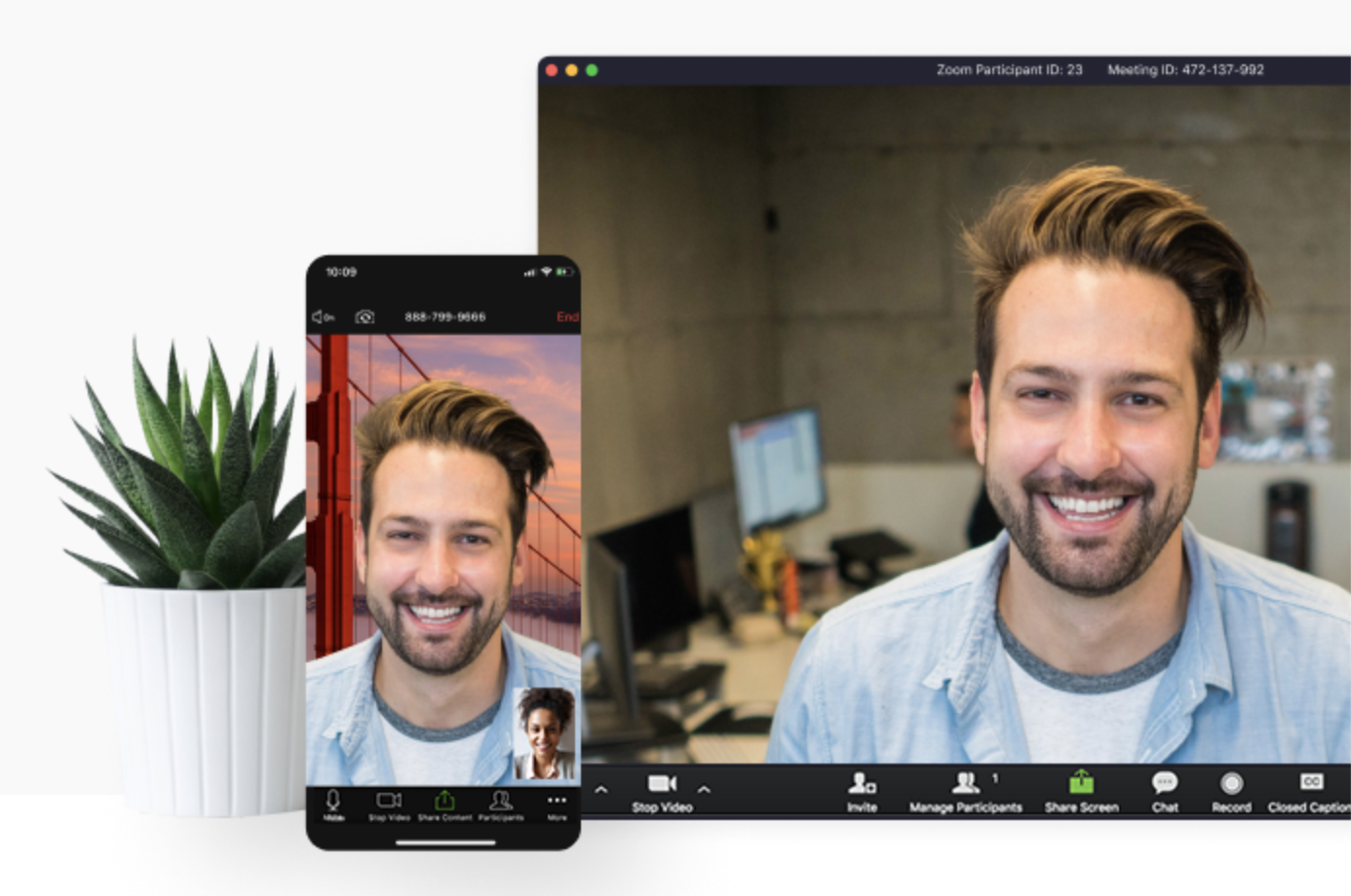 Zoom meeting on mobile and desktop device