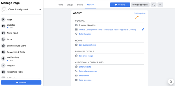 facebook business page edit page info
