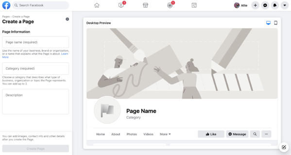 facebook create a business page