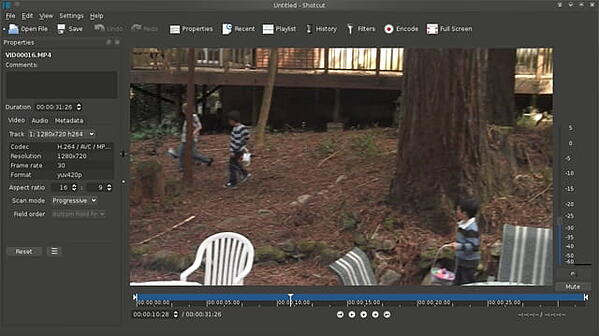 Shotcut video editor in timeline view